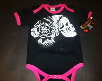 nwt black and hot pink infant bodysuit or toddler of lady skull drop dead gorgeous