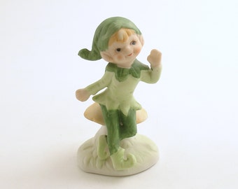 Vintage Pixie Figurine Mushroom Christmas Elf