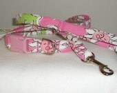 Handcrafted Lilly Pulitzer French Fried Print Fabric Dog Collar & Leash Set