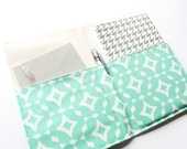 Mint Ikat Journal Cover, Fabric Portfolio, Notepad Organizer, Writer Gift Idea