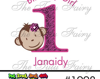Pink Zebra Mod Monkey personalized Birthday shirt t-shirt name age baby toddler 12 18 2t 3t 4t 5t 5/6 7 1st first second girl child
