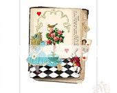 Alice in Wonderland print, nursery art, white rabbit, Queen of Hearts, Illustration, Giclee, collage, red, blue