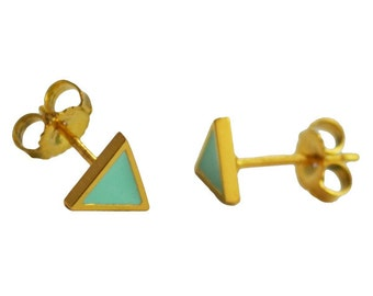 Mini Mint and Gold Triangle Studs // Geometric + Pyramid Inspired Tiny Little Gold Earrings