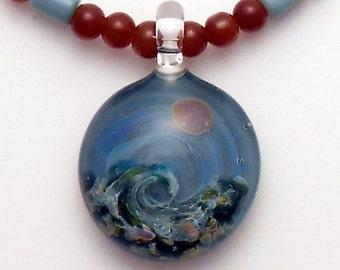 EMBLEM Lampworked Borosilicate Glass Wave Necklace