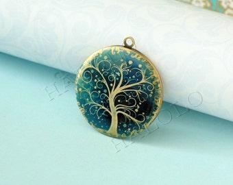 handmade blue tree  round antique brass locket 32mm (LD069)