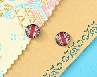 Sale - 10pcs handmade flag clear glass dome cabochons 12mm (12-1002)