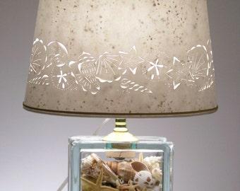 Seashell Glass Block Lamp - Seashell Lamp - Shells - Beach - Table Lamp - Nautical - Pierced Lampshades - Paper lampshade - Home and Living