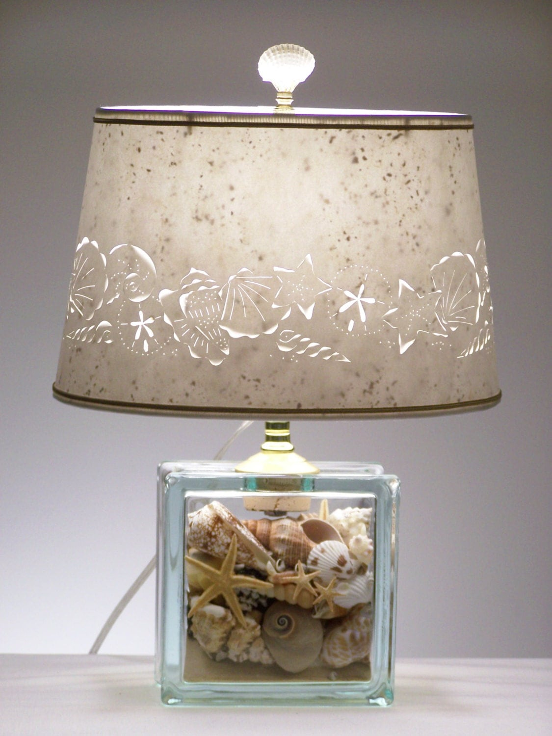 seashell glass block lamp seashell lamp shells beach. Black Bedroom Furniture Sets. Home Design Ideas
