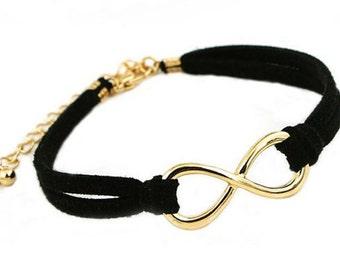 Black faux suede Infinity leather wrap  bracelet cuff