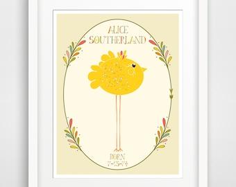 NEW Children's Wall Art / Nursery Decor Alphabet Poster - CUSTOM Birth Announcement Poster Print