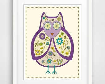 Children's Wall Art / Nursery Decor / Kid's Room Art Print Purple Flowered Owl print by Finny and Zook