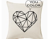 Geometric heart DIY kit - throw pillow cover - you color
