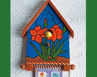 Birdhouse Wall Notepad and Pen Holder