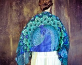 Peacock bird scarf shawl in SILK SATIN, Bohemian aqua blue feathers scarf, Hand painted, digital print, perfect gift
