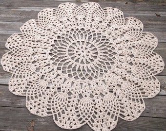 """Brown Cotton Crochet Rug in Large 42"""" Circle Pineapple Lacy Pattern Non Skid"""
