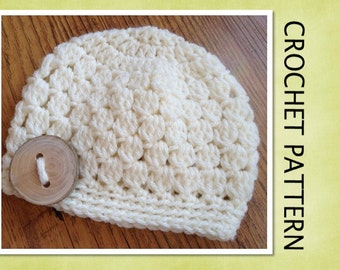 PDF Crochet Pattern - Cluster Beanie Hat - 6 sizes - Newborn to Adult