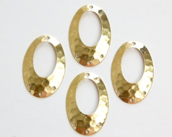 4 Hole Hammered Raw Brass Oval Pendant Drops (4) mtl100K