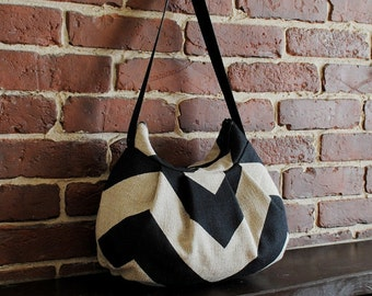 Pleated Bag // Shoulder Purse - Chevron Black / Dention