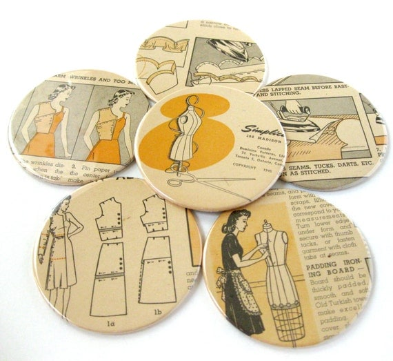 Coasters // Repurposed Vintage Simplicity Sewing Book