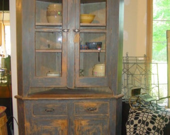 Antique Blue Corner Cupboard 19th Century   HURRY!!  Going to Auction!!  REDUCED!!