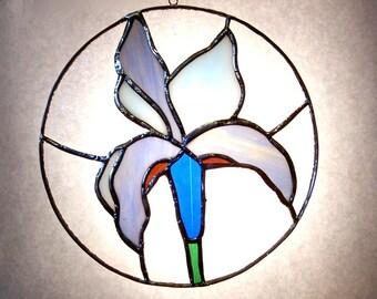 Handcrafted Stained Glass Suncatcher Blue Iris Sun Catcher