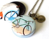 Bicycle Jewelry, Bicycle Locket Necklace, Cyclist Gift, Recycled Steel, Magnetic 3 in 1, Unisex Bicycle Jewelry, Personalized, Bicycle Art