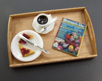 Dollhouse Miniature Breakfast or Morning Snack Tray with Coffee, Toast and Jam and Woman's Day Magazine