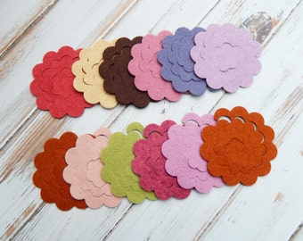 DIY Wool Blend Felt Flowers - Make your own 3-D Mini Posies - 48 pieces
