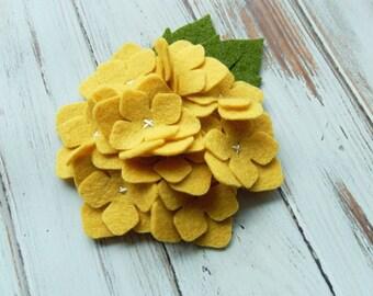 Wool Felt Hydrangea - Mellow Yellow  Set of 2
