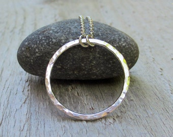Silver Circle Necklace - Argentium Sterling Silver, Hammered, Single, 1 inch, Modern Classic Jewelry