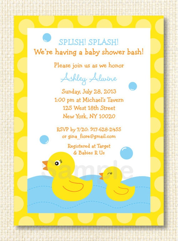 rubber duck baby shower invitation printable by little prints inc