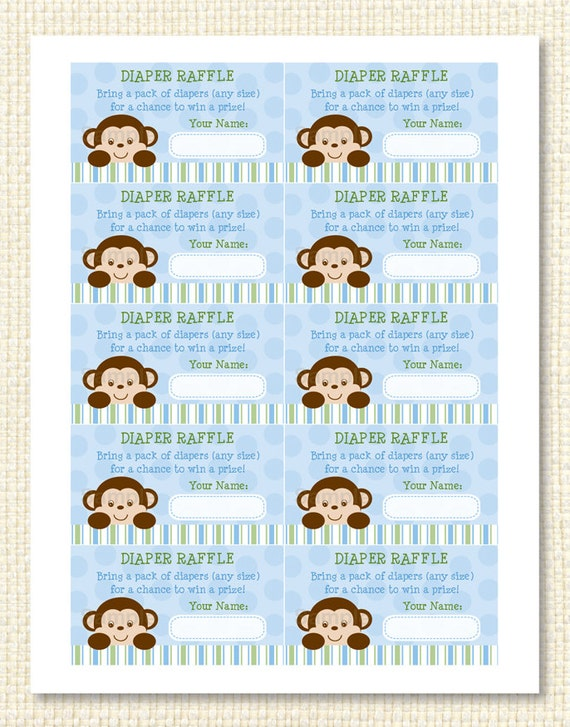 Monkey Diaper Raffle Tickets INSTANT DOWNLOAD by Little Prints Inc ...