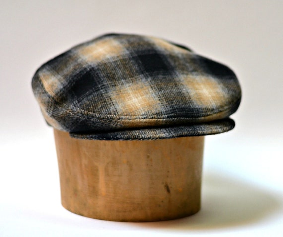Driving Cap in Vintage Shadow Plaid Wool - Ready to Ship