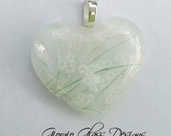 Flower Garden Dichroic Pendant handmade SRA SRAJD Team LE Team Dichroic green leaves white flower decal fused