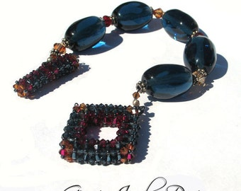 Teal Blue Sparkle Bracelet with Handmade 3D Swarovski Crystal Clasp. SRAJD Team LE Team Handmade Lampwork Beads Sra Sterling Silver
