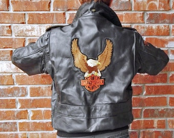 Vintage Harley Davidson Leathercraft Process Jacket - Leather Bomber - 40
