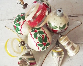 Vintage Christmas Ornaments - Mercury Glass and Clear Striped - Bell - Great for Wreaths - Christmas in July