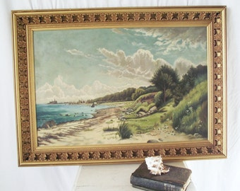 Antique Oil Painting - Kronborg Castle - Denmark - Setting for Hamlet -