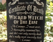 Certificate of Death Wicked Witch of the East Oz Halloween sign wall hanging