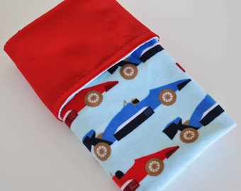 BABY MINI BLANKET / Lovey size / Speedster Printed Minky / Navy or Red charmeuse satin / Baby boy gift / Baby shower gift