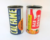 Vintage Cal Fame and Birds Eye Orange Frozen Orange Juice Can Set of 2