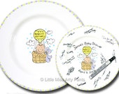 11 inch Ready to Ship - Hand Painted Signature Baby Shower Plate - Special Delivery Design