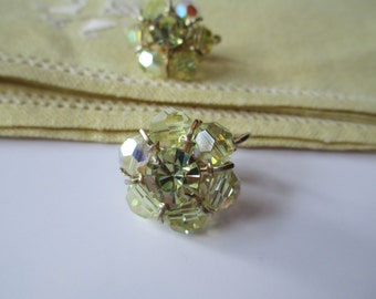 Vintage Yellow Crystal Cluster Clip Earrings - Gorgeous Sparkle