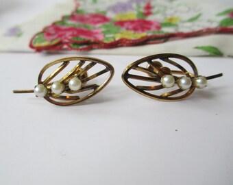 Vintage Lady Alice Gold Filled Pearl Leaf Earrings