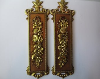 Vintage Syroco Wall Hangings Goldtone Fruit and Flower Set of Two 1970s Retro