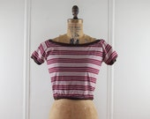 vintage 1950s SUPER PREPPY striped cropped top - brown, poppy red, and white - bombshell