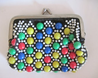 vintage 1960s Super Colorful Gumdrop Beaded Change Purse