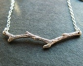 Last one Sterling Silver ozidized branch tree twig twiggy necklace pendant