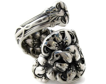 Large Solid Sterling Silver Spoon Ring Orange Blossom  Size 7 to 15