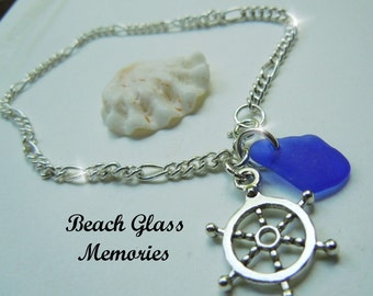 Sea Glass Bracelet, Blue Beach Glass Ship's Wheel Jewelry
